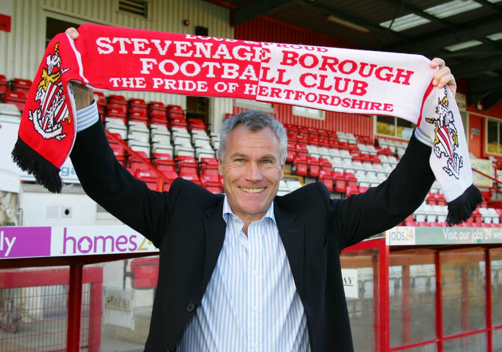 Peter Taylor with Stevenage scarf