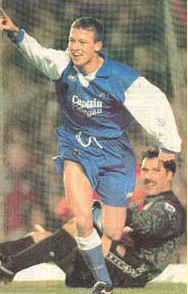 Mark Beard after scoring for Millwall against Arsenal