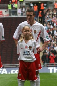 Mark Beard with his daughter at Wembley